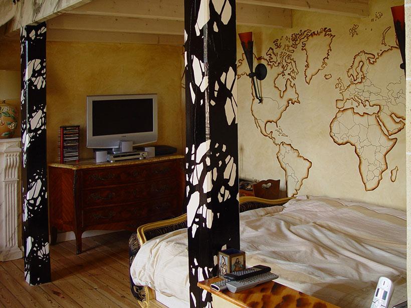 Fresques murales peintures trompe l oeil d corative int rieures maison villa piscines spa salon - Trompe l oeil chambre ...